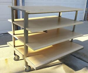 4 Tier Rolling Retail Waterfall Display Table Heavy Duty 45 H X 52 W W casters