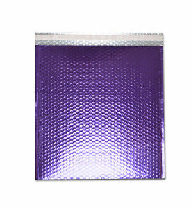 50 Metallic Glamour Bubble Mailers Envelopes 13 75 X 11 Purple