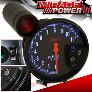 5 All Chevy Black Face Tachometer 11k Rpm Gauge Jdm Red Shift Light