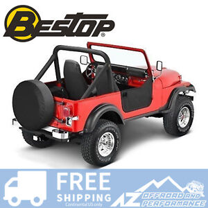 Bestop Soft Half Doors Black Crush For 80 95 Jeep Cj7 Wrangler Yj 53038 01