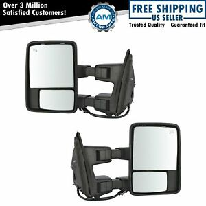 Mirror Power Fold Telescoping Heat Memory Signal Light Chrome Tow Pair For Ford