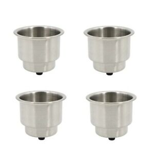 4x Stainless Steel Cup Drink Holder Marine Boat Rv Camper Free Shipping