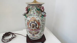 Antique Chinese Porcelain Vase With Coat Of Arms Signed Lamp