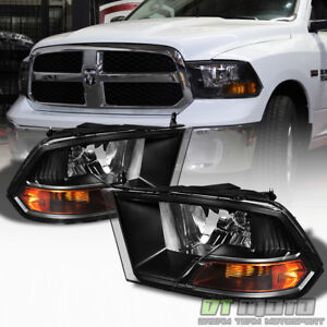 2009 2018 Dodge Ram Black Headlights Lamps Replacement Left right 09 18 Lights