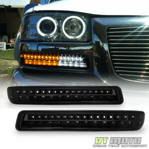 Blk Led Design 1999 2006 Gmc Sierra Yukon Signal Lamps Drl Parking Bumper Lights