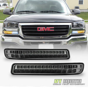smoke Lens 99 06 Gmc Sierra Yukon Led Amber white Signal Parking Bumper Lights