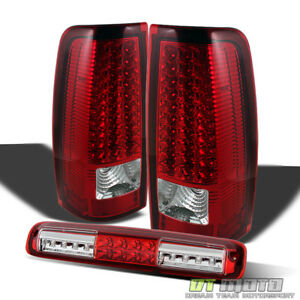 2003 2006 Chevrolet Silverado Red Clear Led Tail Lights Led 3rd Cargo Brake Lamp