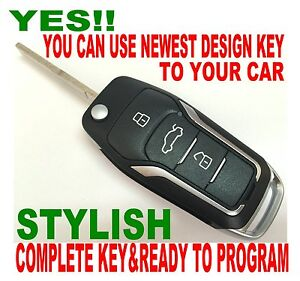 New Gt Style Flip Key Remote For 2004 2010 Ford Focus Chip Immobilizer 2kd2eu