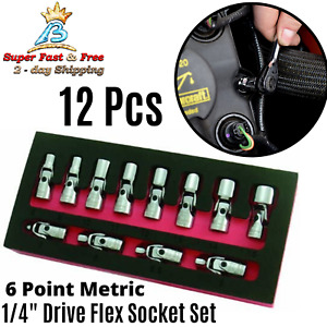 Flex Socket Set 1 4 Inch Swivel Flex Socket Set Metric Drive 6 Point 12 Pcs New