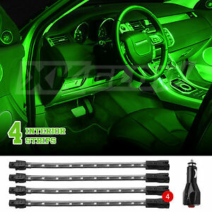 Universal Green Led 4pc Car Interior Truck Bed Trunk Neon Accent Light Kit