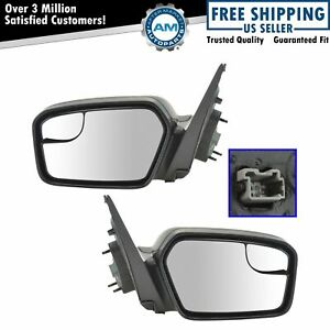 Power Blind Spot Glass Texture Black Mirror Left Right Pair For Fusion Milan New
