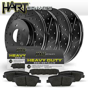front rear Black Hart drilled Slotted Brake Rotors Heavy Duty Pads H1634