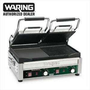 Waring Wdg300 Commercial Double Panini Ribbed Flat Grill 240v 1 Year Warranty