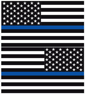 Reflective Thin Blue Line American Flags Mirrored 3 Police Fire Decal