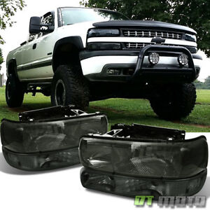 Smoked 99 06 Chevy Silverado Tahoe Suburban Headlights bumper Signal Headlamps