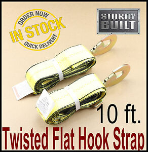 2x Wheel Lift Repo Crossover Strap 2 X10 Tow Truck Flatbed Hauler Hook Straps