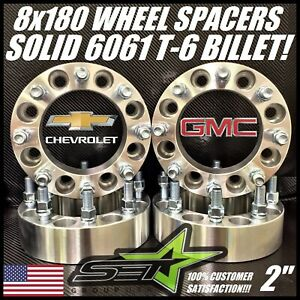8x180 Wheel Spacers 2 Inch For 2011 2020 Chevy Gmc 2500 3500 Silverado Sierra