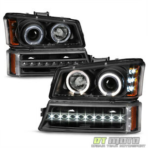 Blk 2003 2006 Chevy Silverado 1500 2500 Led Halo Headlights led Drl Bumper Lamps