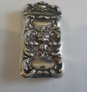 Nice Sterling Silver Art Nouveau Match Safe Vesta Case Lion Mask 15 Grams