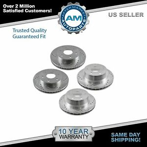 Nakamoto Performance Drilled Slotted Zinc Coated Rotor Set Of 4 For Chevy Gmc