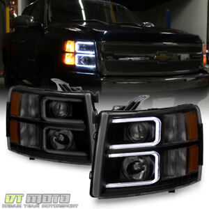 Blk Smoke 2007 2013 Chevy Silverado 1500 2500 Led Drl Tube Projector Headlights