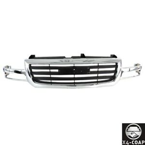 Chrome Grille W Black Insert For 03 07 Gmc Sierra 1500 Pickup Truck Gm1200475