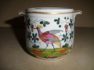Antique 1800 S Old Paris Porcelain Jar Hand Painted Birds Flowers Arrangement