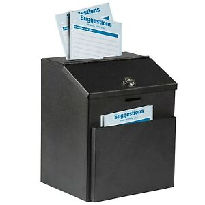 Adir Steel Suggestion Box With Lock Donation Collection Charity Key Drop