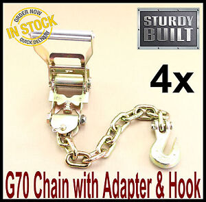 16pc Chain Ratchet Strap Tie Down G70 Flatbed Tow Hauler Carrier Wrecker Trailer