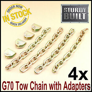 4x Chain Adapter With G70 Tow Chain Ratchet Tie Down Straps Truck Trailer Axle