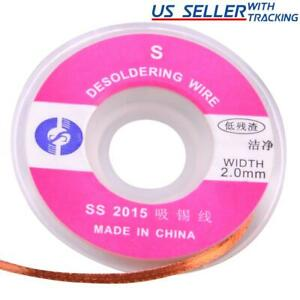 2 0mm Desoldering Braid Solder Remover Pure Copper Wick Low Residue 1m 3ft