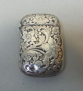 Fine Art Nouveau Sterling Silver Match Safe Vesta Case Floral 25 Grams
