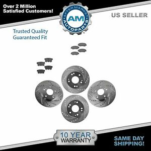 Nakamoto Performance Drilled Slotted Brake Rotor Ceramic Pad Front Rear Kit