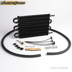 6 Row Radiator Remote Aluminum Transmission Oil Cooler Hose Mounting Kit
