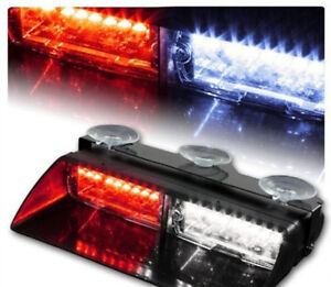 Car 16 Led Red White Police Strobe Flash Light Dash Emergency Flashing Light