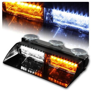 Car 16 Led Amber White Police Strobe Flash Light Dash Emergency Flashing Light