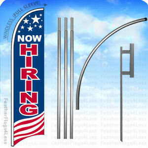 Now Hiring Windless Swooper Flag 15 Kit Feather Banner Sign Usa Bb
