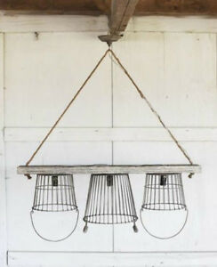 Vintage Iron Country Baskets Kitchen Chandelier Wood Chic Cottage Light Old