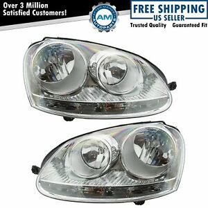 Headlights Headlamps Halogen Left Right Pair Set For Vw Rabbit Jetta Golf Gti
