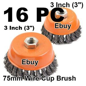 16 Pc 3 Twist Cup Wire Brush 5 8 Knot Wire Cup Brush Fits Most Angle Grinders