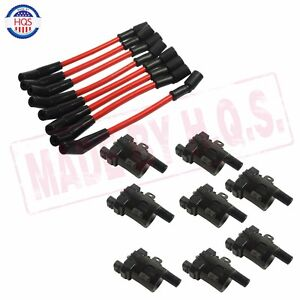 Set Of 8 Ignition Coils Kit 8 Pcs Spark Plug Ignition Wires Set For Chevy New