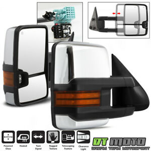 Left Right 2003 2006 Silverado Sierra Power Heated Led Signal Tow Mirrors Chrome