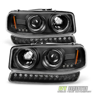 Black 99 06 Gmc Sierra Yukon Halo Projector Headlights Led Bumper Signal Lights