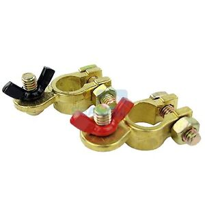 Car Battery Terminal Marine Brass Clip Connector Positive Negative Wing Nut Pair