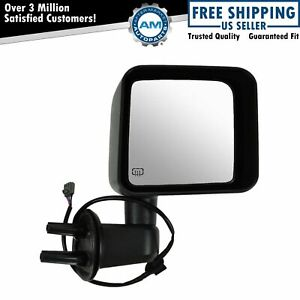 Side View Mirror Power Heated Textured Black Passenger Right For Jeep Wrangler