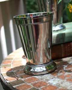 Silver Mint Julep Cup With Heavy Beaded Edge And Felt Bottom 4 75 Inches Tall