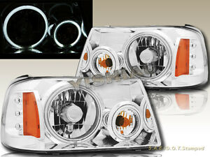 01 11 Ford Ranger Crystal Headlights Chrome Housing Ccfl Halo Rims Angel Eyes