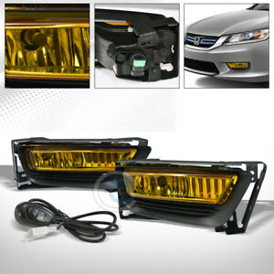Yellow Clear Bumper Fog Lights Lamps switch Kit Pt 2013 2015 Honda Accord 4d 4dr