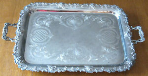Unique Large 29 1 2 Antique Butler Silverplate Metal Platter Tray