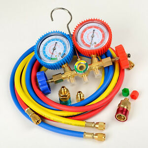 R134a R12 R22 Ac A c Manifold Gauge Set 5ft Colored Hose Air Conditioner Refrige